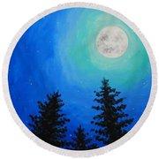 Moon Over Pines Round Beach Towel