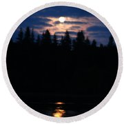 Moon Over Piprell Lake Round Beach Towel
