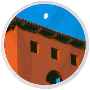 Moon Over Red Adobe Horizontal Round Beach Towel