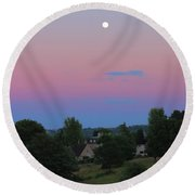 Moon Over Rodborough Common Round Beach Towel