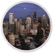 Moon Over Seattle Round Beach Towel