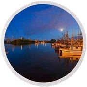 Moon Over Sitka Marina Round Beach Towel by Mike  Dawson