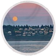 Moon Over Steilacoom Round Beach Towel