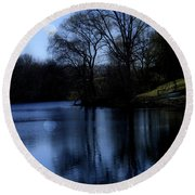 Moon Over The Charles Round Beach Towel