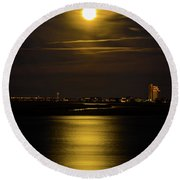 Moon Over Tubbs Round Beach Towel