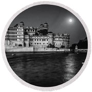 Moon Over Udaipur Bw Round Beach Towel