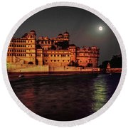 Moon Over Udaipur Round Beach Towel