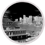 Moon Over Vancouver Round Beach Towel