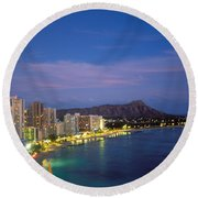 Moon Over Waikiki Round Beach Towel