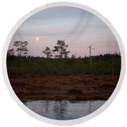 Moon Over Wetlands Round Beach Towel