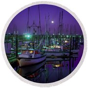 Moon Over Winchester Bay Round Beach Towel