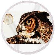Moon Owl Round Beach Towel