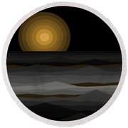 Moon Rise Abstract - Black And Gold Round Beach Towel