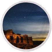Moon Rise At Pillars Of Rome, Oregon, Usa Round Beach Towel