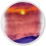 Moon Rise In Aquarelle Round Beach Towel