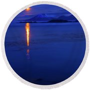 Moon Rise Over Mt. Edgecumbe Round Beach Towel