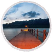 Moon Rising At Glenorchy Wharf, New Zealand Round Beach Towel