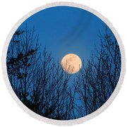 Moon Rising In The Trees Round Beach Towel