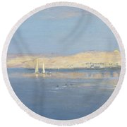 Moon Rising Over The Nile, 1900 Round Beach Towel