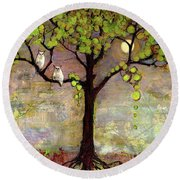 Moon River Tree Owls Art Round Beach Towel