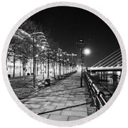 Moon Romance Bw Round Beach Towel