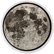 Moon Surface By John Russell Round Beach Towel