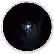 Moon Through The Trees Round Beach Towel