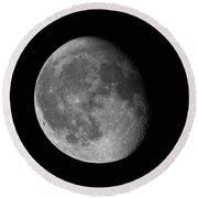 Moon Waning Gibbous Against Black Night Sky High Resolution Image Round Beach Towel