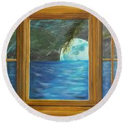 Moon Window Round Beach Towel