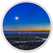 Moon With Antares, Mars And Saturn Round Beach Towel