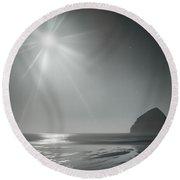 Moonbeams Over Pacific Beach Round Beach Towel