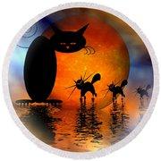 Mooncat's Catwalk Round Beach Towel by Issabild -