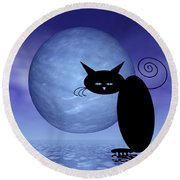 Mooncat's Loneliness Round Beach Towel by Issabild -