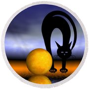 Mooncat's Play With The Fullmoon Round Beach Towel by Issabild -