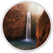 Mooney Falls Grand Canyon 1 Round Beach Towel