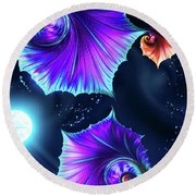 Moonflowers Round Beach Towel