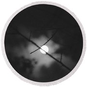 Moonlight And Branch Round Beach Towel