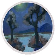 Moonlight And Joshua Tree Round Beach Towel
