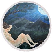 Moonlight And Sorrow Round Beach Towel