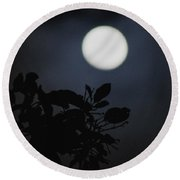 Moonlight And Tree 1 Round Beach Towel
