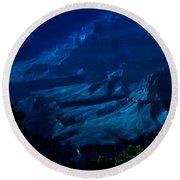 Moonlight At Grand Canyon Round Beach Towel