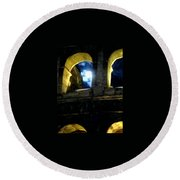 Moonlight At The Colosseum Round Beach Towel