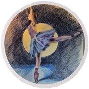 Moonlight Ballerina Round Beach Towel