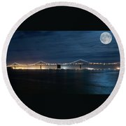 Shimmering In The Moonlight Round Beach Towel