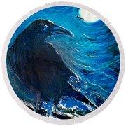 Moonlight Crow Round Beach Towel