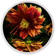 Moonlight Dahlia Round Beach Towel