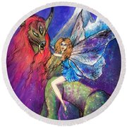 Moonlight Fairy And Her Horned Horse Round Beach Towel