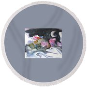Moonlight Fever Round Beach Towel