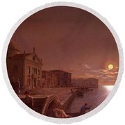 Moonlight In Venice Henry Pether Round Beach Towel