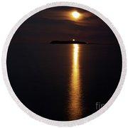 Moonlight Over Island Round Beach Towel